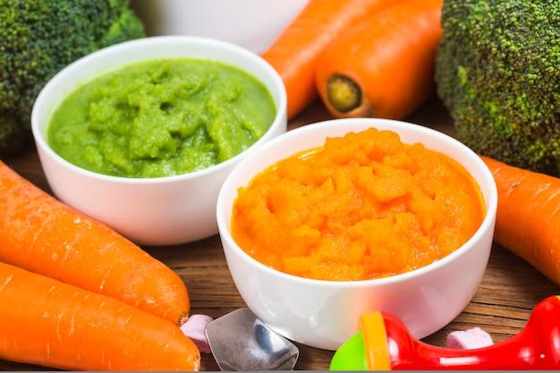 Purea di verdure, purea di carote, purea di broccoli