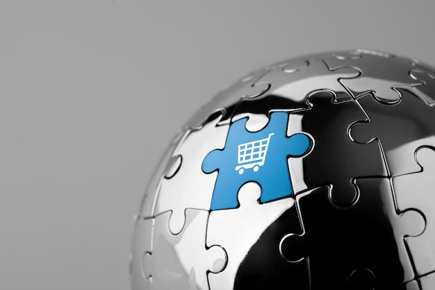 Puzzle di shopping online per globale