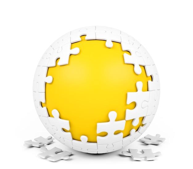Puzzle sferico bianco con pezzi mancanti su sfondo bianco