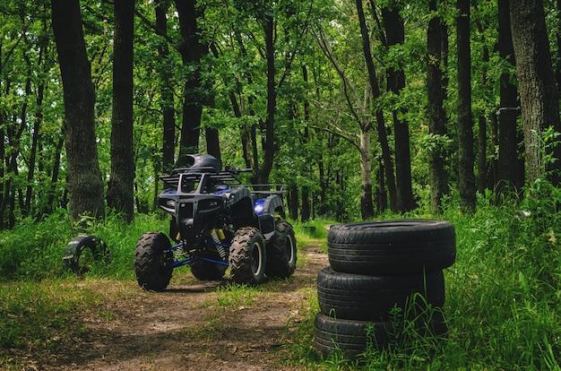 Quad atv su una pista speciale nella foresta