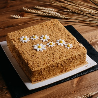 Quadrato della torta di miele con camomilla progettato dolce delizioso delizioso in polvere su tessuto nero marrone