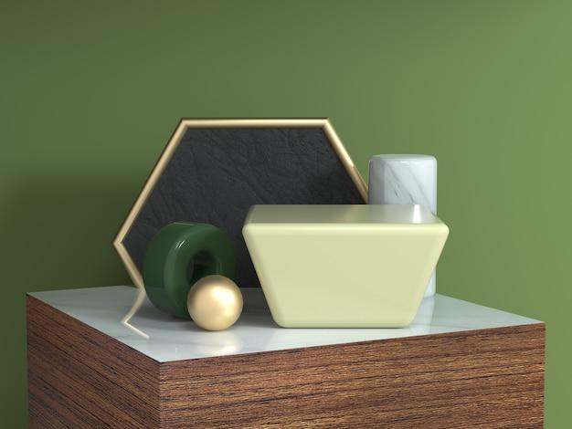 Quadrato di legno marrone struttura podio astratto forma geometrica natura morta set 3d rendering esagono oro cornice giallo quadrato