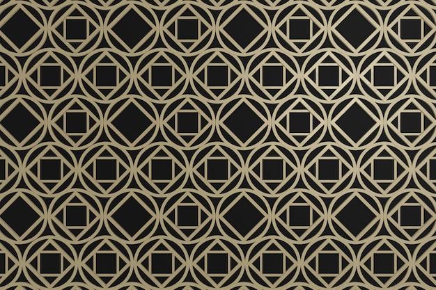 Quadrato marrone e grafico del cerchio su backgroun nero, parete 3d per la carta da parati di fondo o decorazione o contesto della parete.