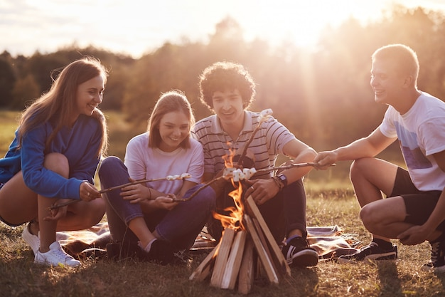 Quattro giovani amici con espressioni positive friggono marshmallows vicino al falò, si godono la sera, parlano di qualcosa, come avventure, si vestono casualmente. concetto di amicizia, stile di vita e picnic