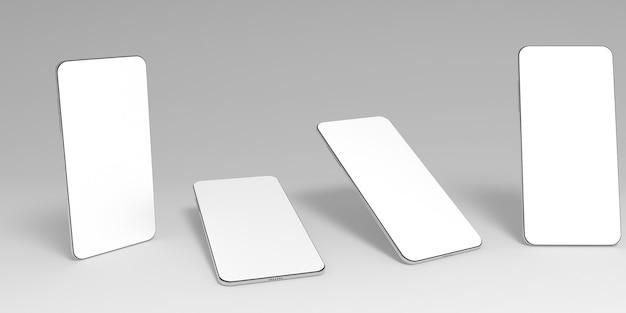 Quattro smartphone 3d con schermi bianchi vuoti