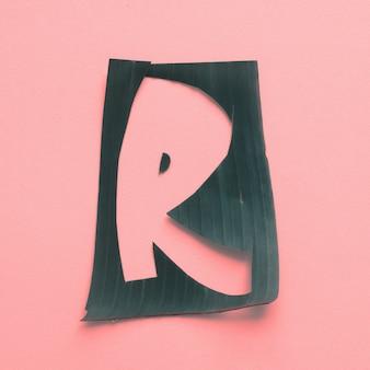 R una lettera verde foglia tropicale alfabeto rosa