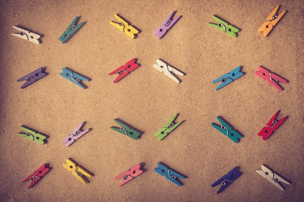 Raccolta di graffette colorate piatta lay style.vintage colore