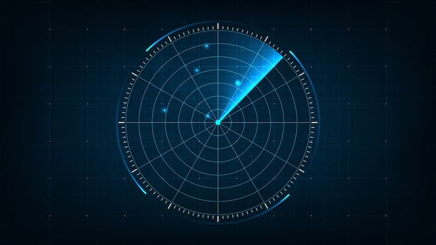 Radar realistico blu digitale con obiettivi sul monitor in ricerca