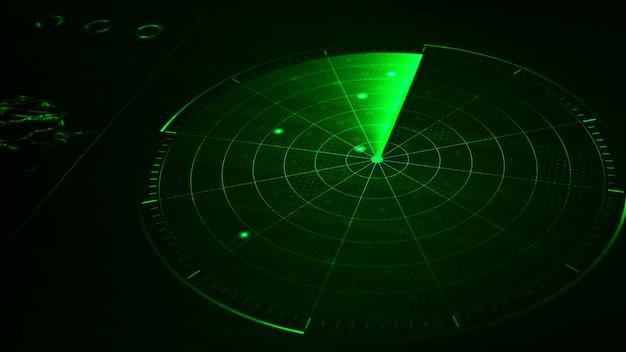Radar realistico blu digitale con obiettivi sul monitor nella ricerca. ricerca aerea