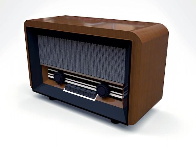Radioricevitore d'annata vecchio del tubo fatto di legno e di plastica nera su una superficie bianca. vecchia radio della metà del 20 ° secolo