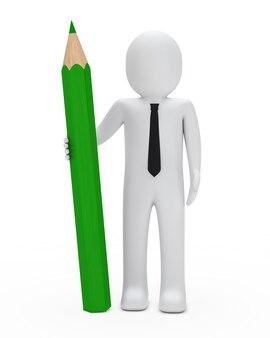 Rag doll in piedi con una matita verde