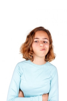 Ragazza adolescente carina con espressione faccia buffa