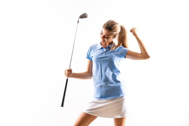 Ragazza adolescente golfista