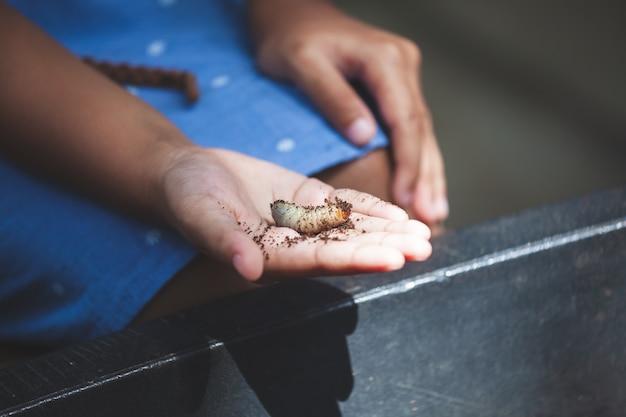 Ragazza asiatica del bambino che tiene le larve dello scarabeo rinoceronte a disposizione con curioso e divertimento