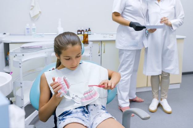 Ragazza che si siede nell'ufficio dei dentisti che studia modello della mascella dentale