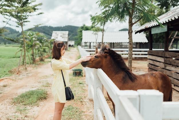 Ragazza dell'asia che gioca con il cavallino allo zoo