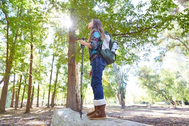 Ragazza della viandante con l'escursione del palo e zaino in foresta integrale