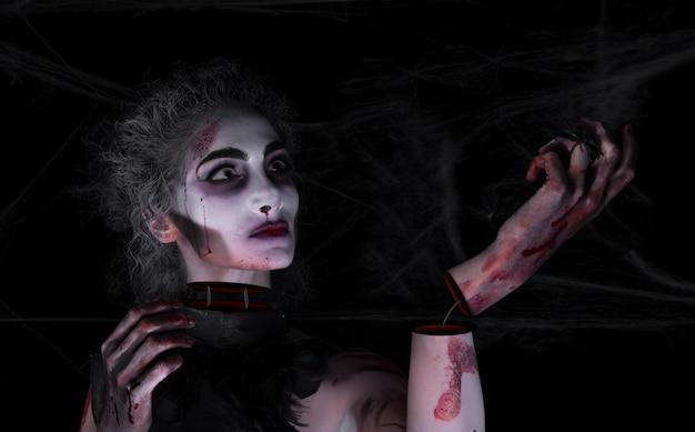 Ragazza e halloween e maschera