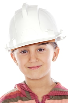 Ragazza futura dell'ingegnere a sopra fondo bianco
