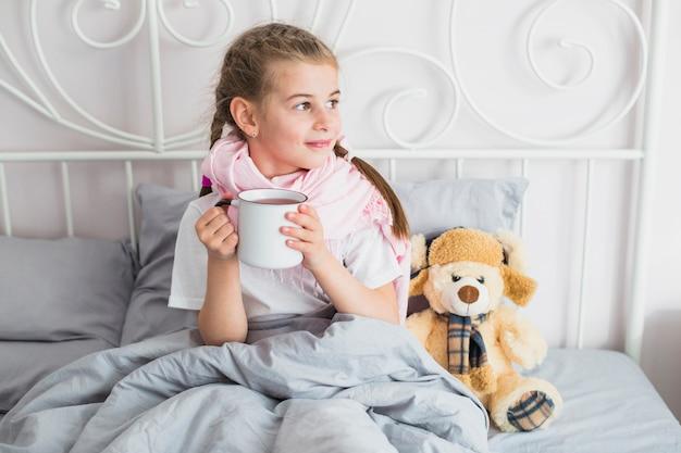 Ragazza malata nel letto