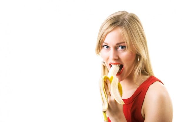 Ragazza, mangiare, banana