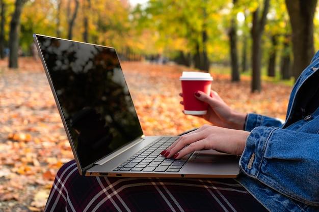 Ragazza nel parco in autunno su una panchina con un computer portatile e un caffè