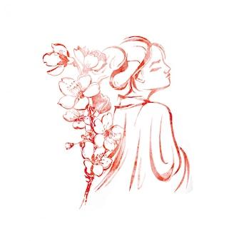 Ragazza orientale dell'acquerello e un ramo dell'illustrazione del fiore di ciliegia