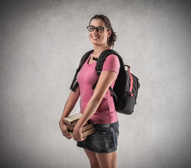 Ragazza sportiva studentessa