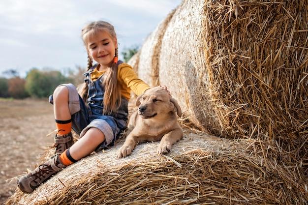 Ragazza sveglia che gioca con il cucciolo sui rotoli delle balle di fieno nel campo