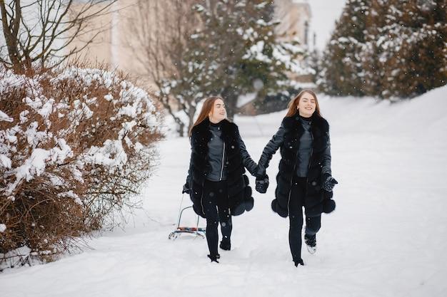 Ragazze in un parco invernale