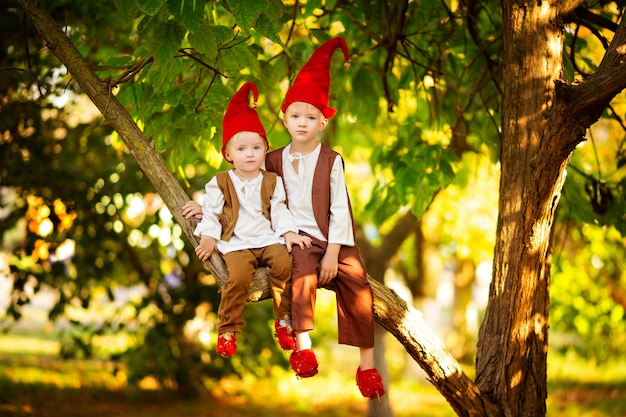 Ragazzi, fratelli di gnomi della foresta leggiadramente felici giocano e si siedono su un albero nella foresta