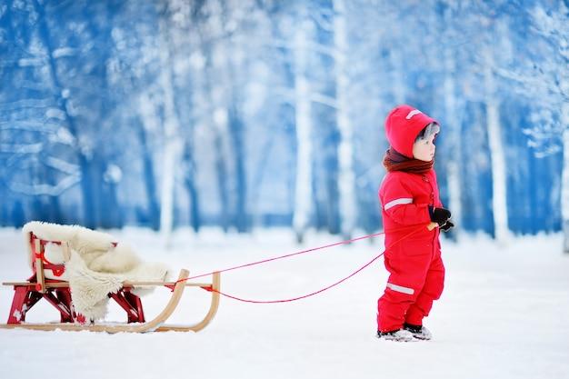 Ragazzino che gode di una corsa in slitta. slittino bambino. bambino bambino in sella a una slitta. i bambini giocano all'aperto nella neve. slitta per bambini nel parco invernale. divertimento attivo all'aperto per le vacanze in famiglia.