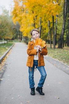 Ragazzo carino cammina e pone in un parco colorato autunno