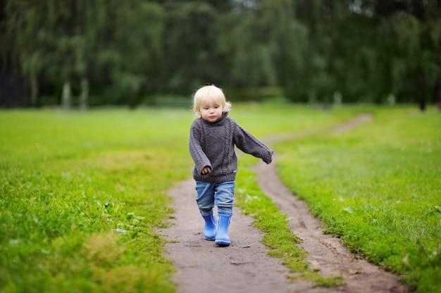 Ragazzo del bambino che cammina in estate o in un giorno d'autunno
