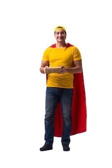 Ragazzo di consegna della pizza dell'eroe eccellente isolato