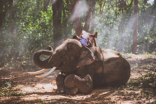 Ragazzo di scuola che gioca nella giungla con il suo amico elefante