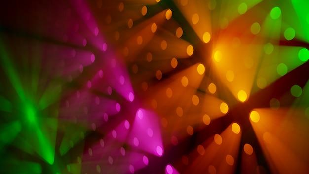 Raggi di luce colorati volumetrici in fumo sfondo
