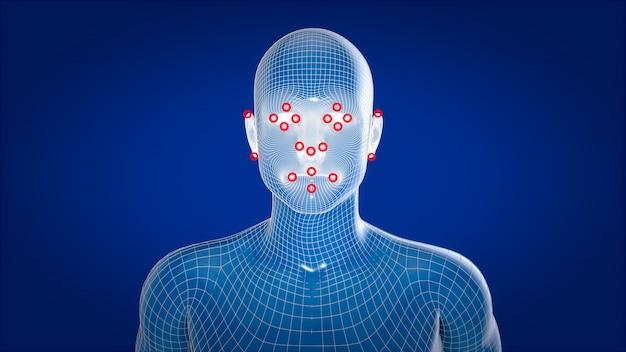 Raggi x umani, riconoscimento facciale di anatomia umana, illustrazione 3d