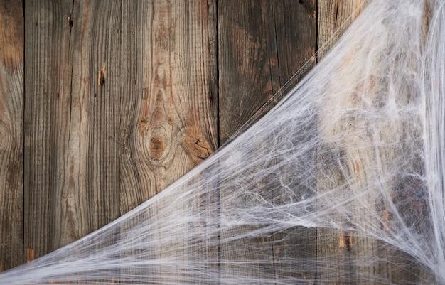 Ragnatela bianca nell'angolo della composizione, in legno grigio da vecchie tavole