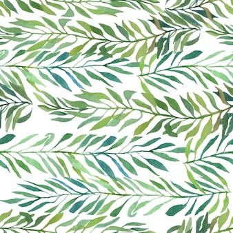 Rami di autunno e l'estate dell'acquerello con le foglie isolate su bianco
