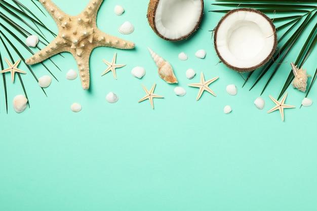 Rami di palma, stelle marine e cocco sulla menta, spazio per il testo