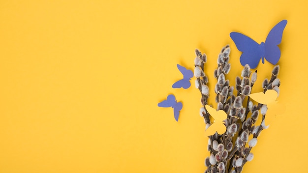 Rami di salice con farfalle di carta sul tavolo giallo