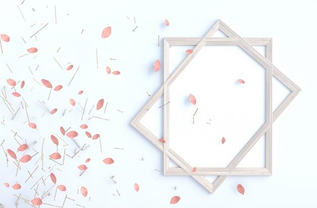 Ramo di albero e rosa del colpo va sulla parete bianca del cemento con la cornice. rendering 3d di sfondo.
