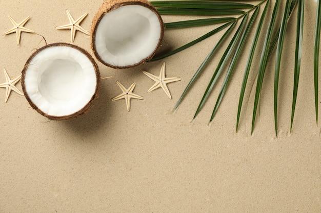 Ramo di palma, cocco e stelle marine su sabbia di mare, spazio per il testo