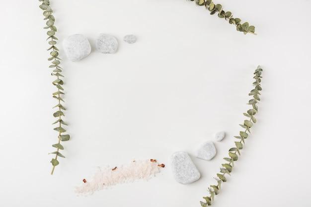 Ramoscelli; pietre del sale e della stazione termale isolate su priorità bassa bianca