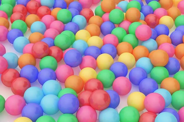 Rappresentazione 3d (alti vicini) molta palla di gomma, concetto variopinto