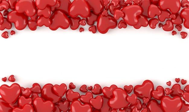 Rappresentazione 3d, azione rosse di forma del cuore 3d con fondo bianco, spazio per testo o copyright, concetto del fondo dei biglietti di s. valentino
