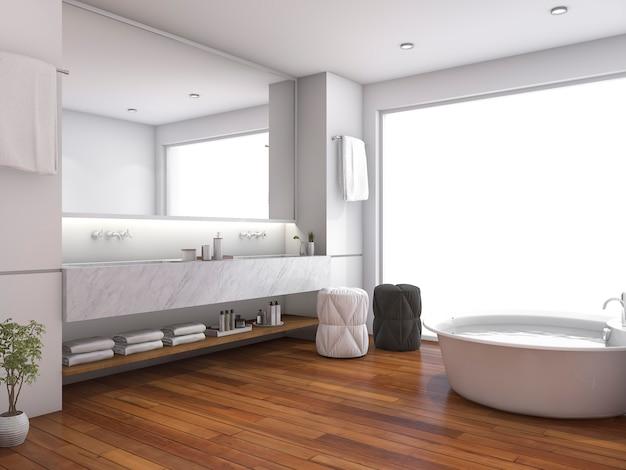 Rappresentazione 3d del bagno di legno contemporaneo vicino alla finestra