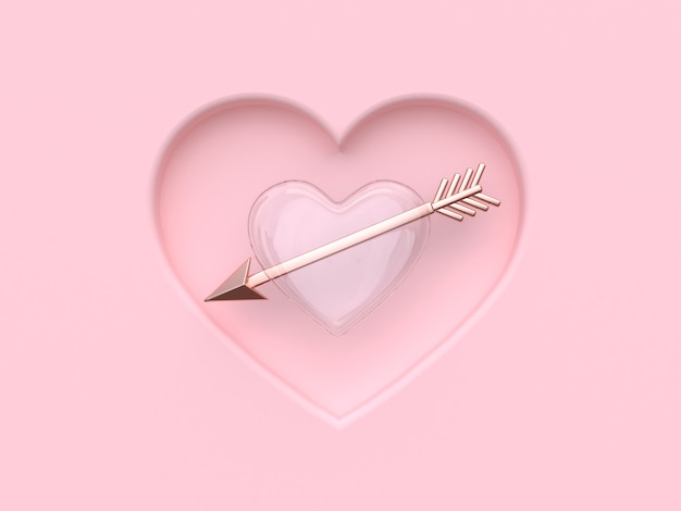 Rappresentazione 3d del biglietto di s. valentino della freccia metallica di rosa chiaro astratto del cuore