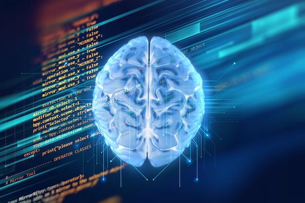 Rappresentazione 3d del cervello umano sulla priorità bassa di tecnologia
